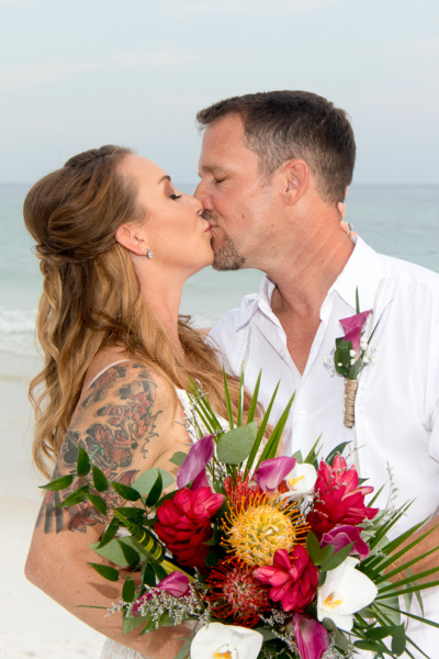 tropical, beach wedding, destin, barefoot